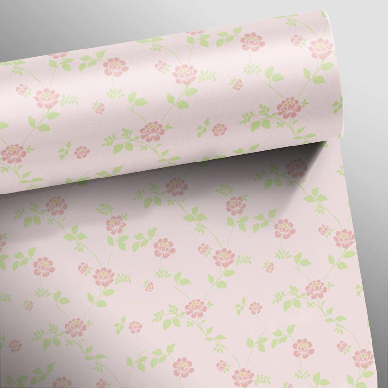 Papel de Parede Floral Rosas Retrô  - TaColado