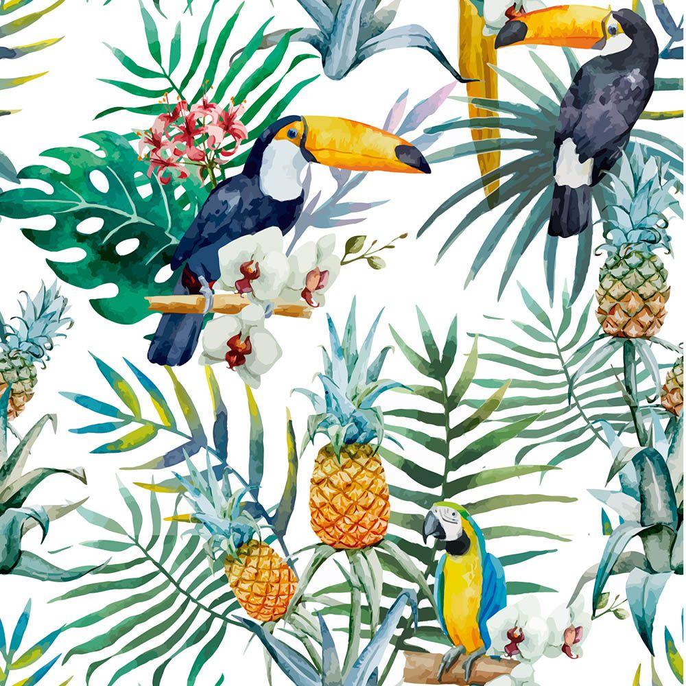 Papel de Parede Floral Tropical  - TaColado