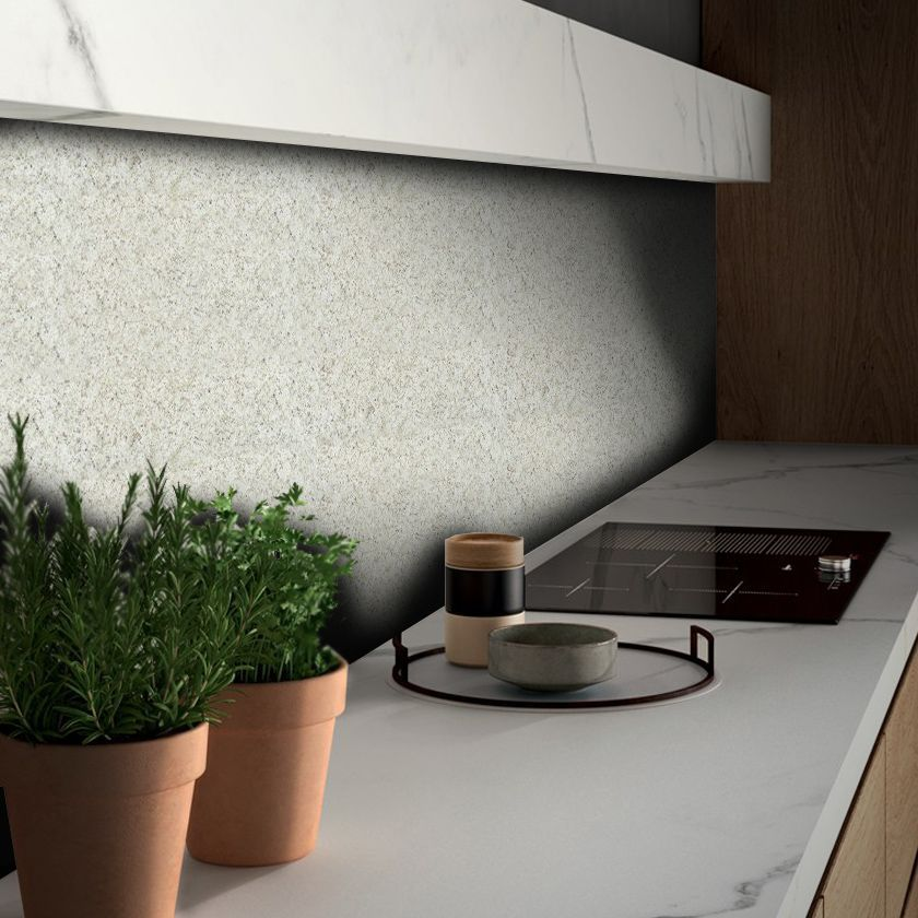 Queima de Estoque - Papel de Parede Pedra Granito Marfim  - TaColado