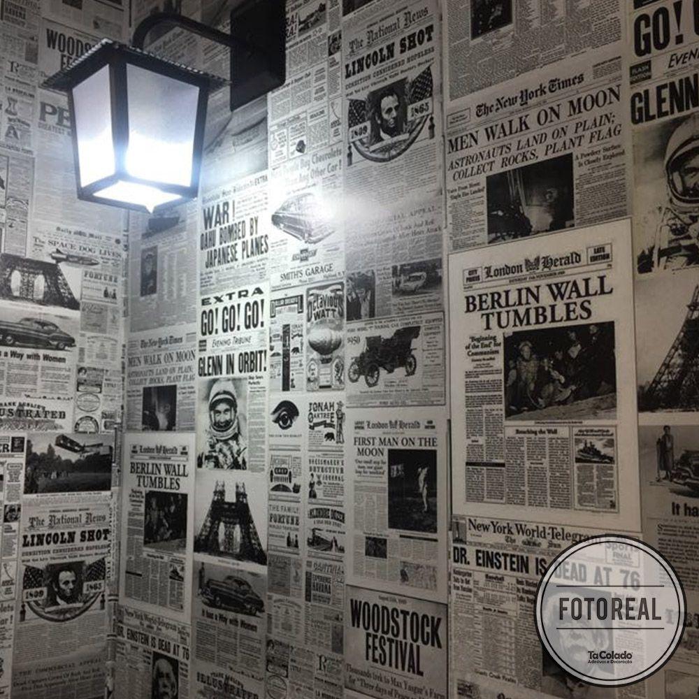 Papel de Parede Vintage Jornal  - TaColado