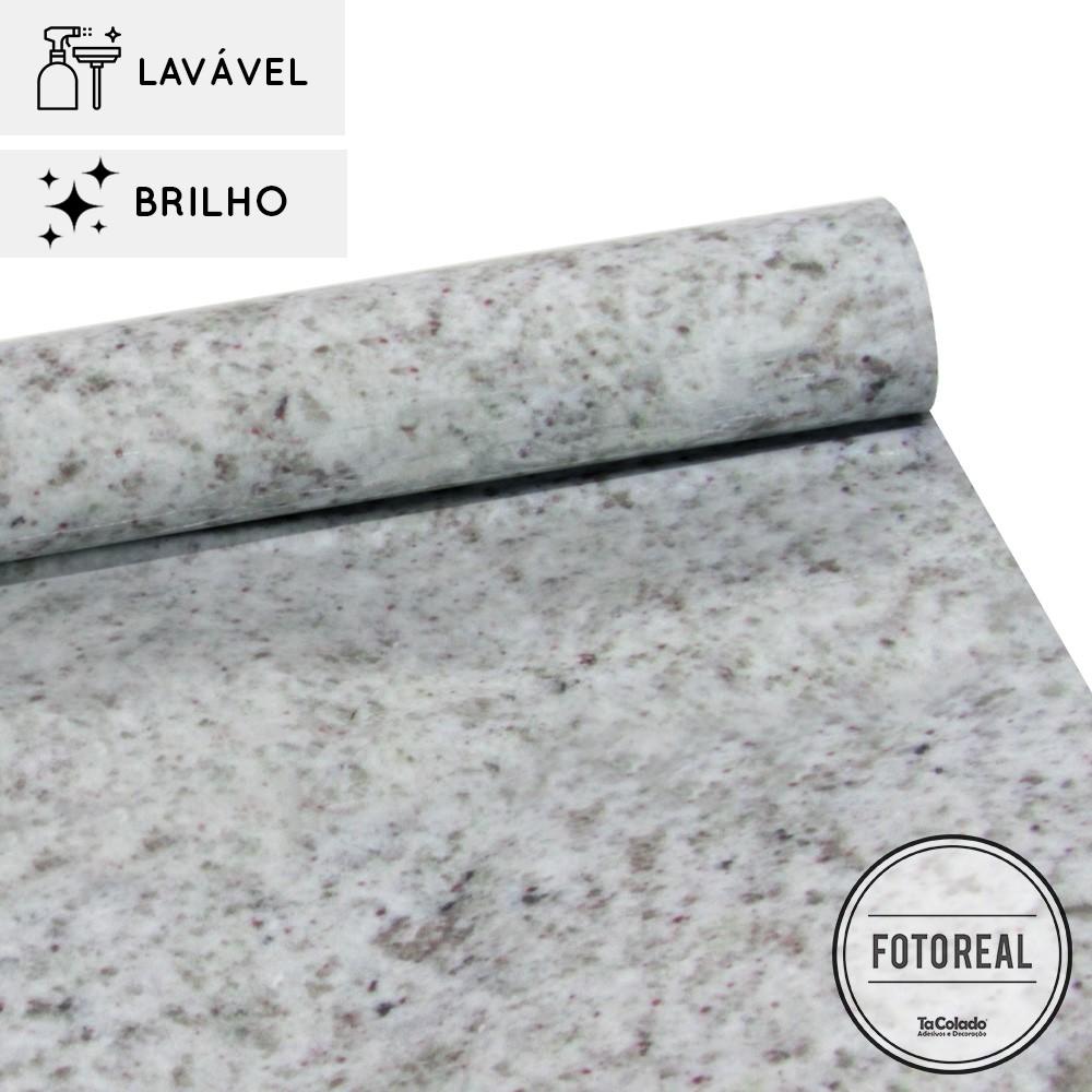 Papel de Parede Lavavel para Banheiro Cozinha Revestimento Brilho Granito Marfim  - TaColado