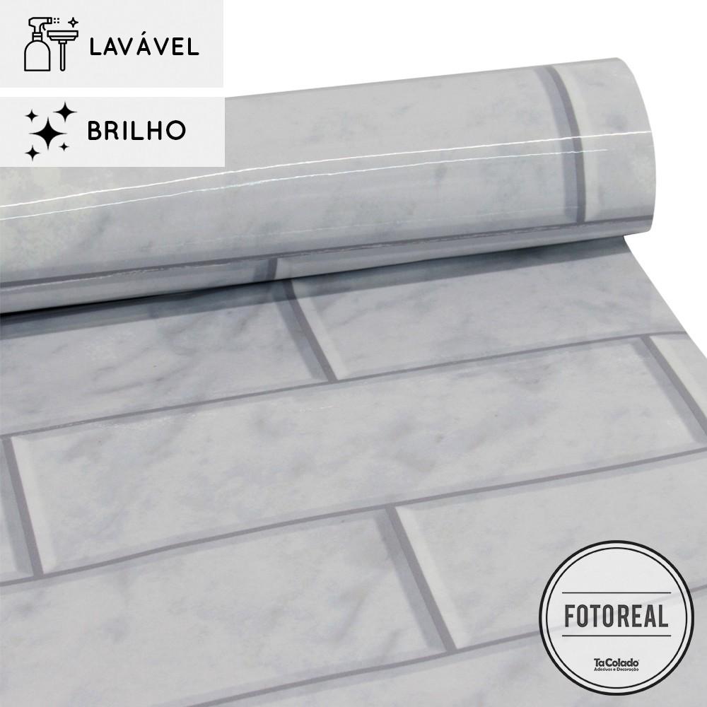 Papel de Parede Lavavel para Banheiro Cozinha Revestimento Brilho Metro Mármore  - TaColado