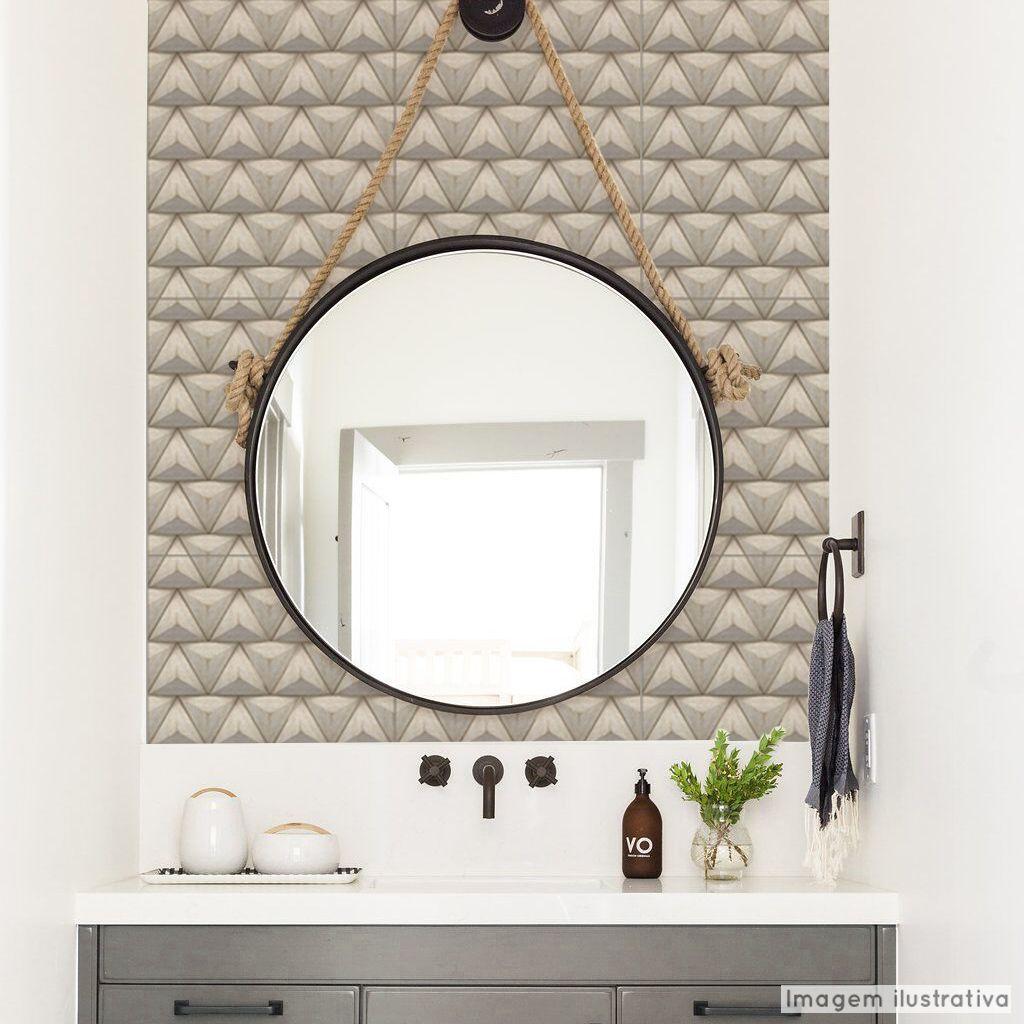 Papel de Parede Lavavel para Banheiro Revestimento 3D Triangle  - TaColado