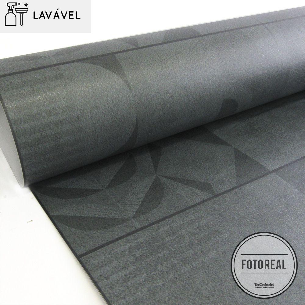 Papel de Parede Revestimento Azulejo Lavável Cimento Industrial  - TaColado