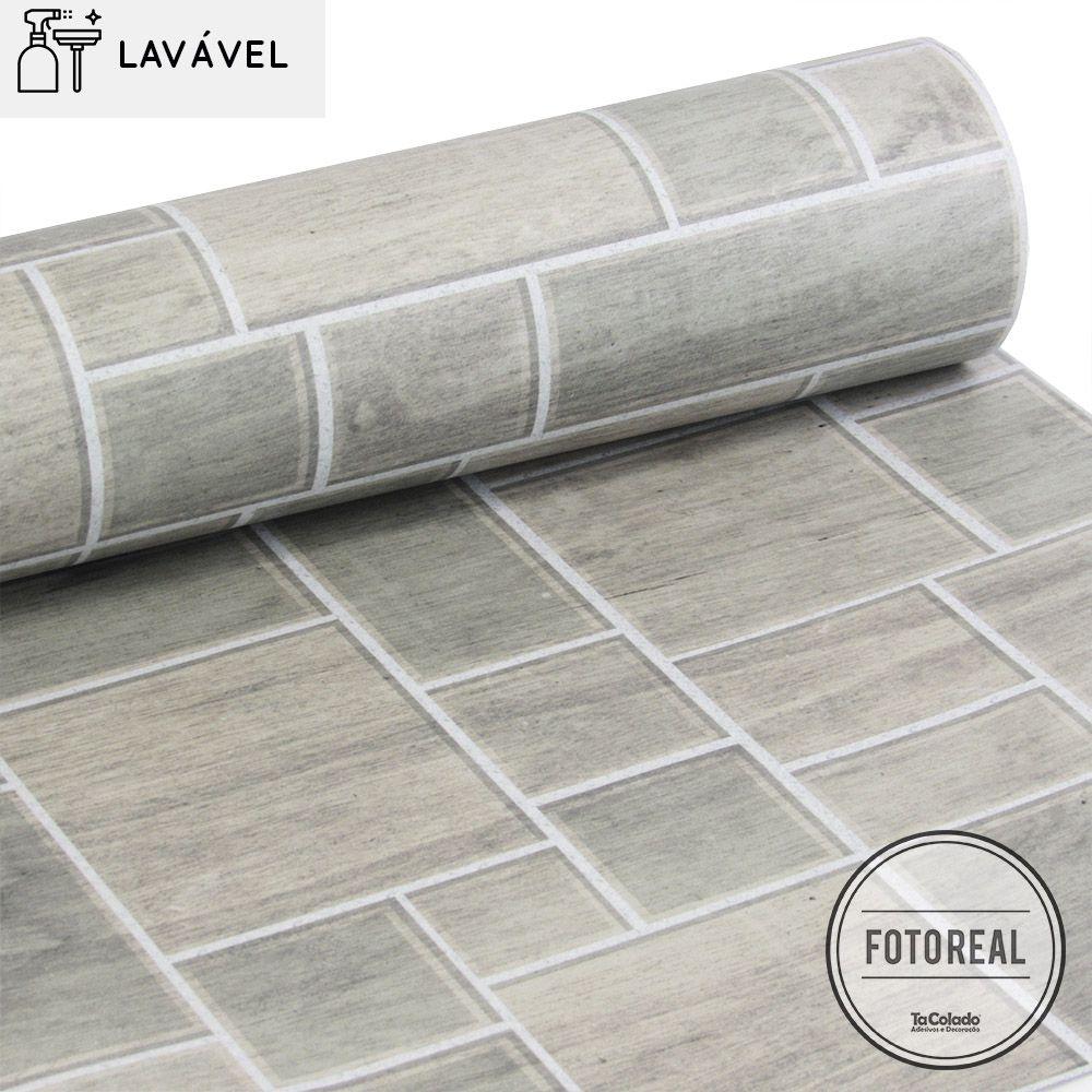 Papel de Parede Revestimento  Lavável Madeira Mosaico  - TaColado