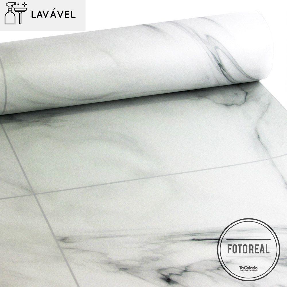 Papel de Parede Lavável para Banheiro Revestimento Mármore Branco Prime  - TaColado