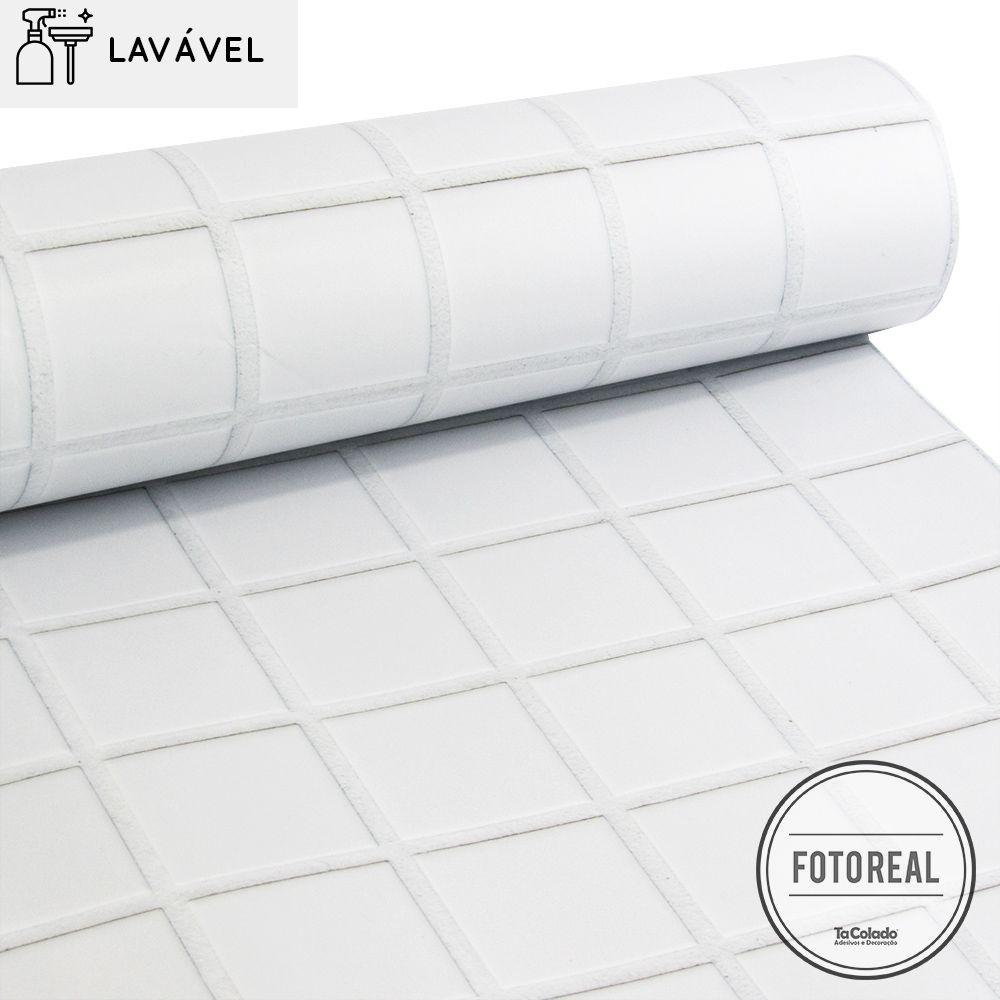 Papel de Parede Lavável para Banheiro Revestimento Pastilha  - TaColado