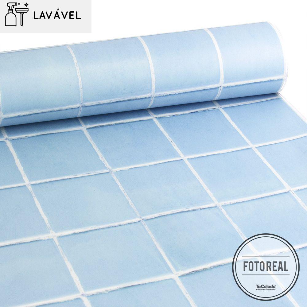 Papel de Parede Lavável para Banheiro Revestimento Tom Pastel  - TaColado