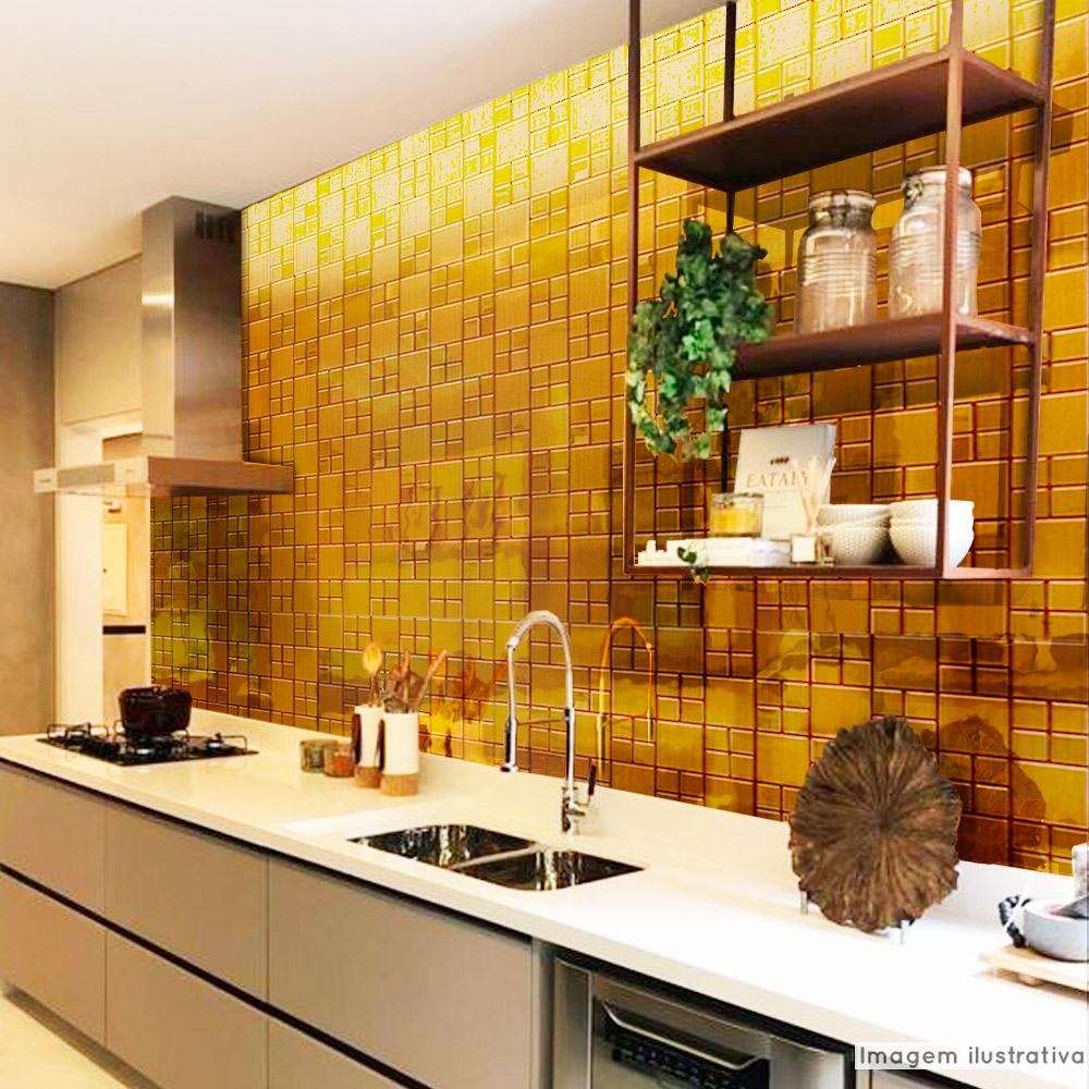 Papel de Parede Lavavel para Cozinha Revestimento Brilho Pastilha Metálica Bronze  - TaColado