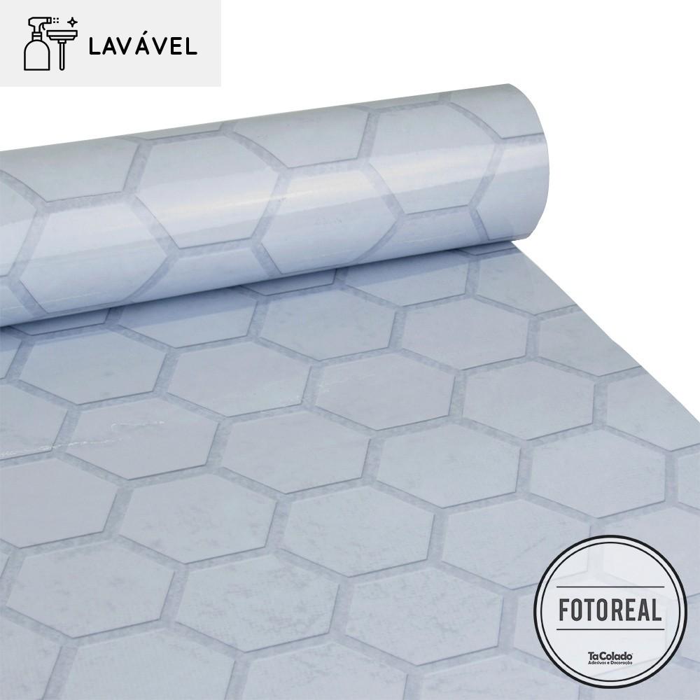 Papel de Parede Lavavel para Cozinha Revestimento Concreto Colmeia  - TaColado