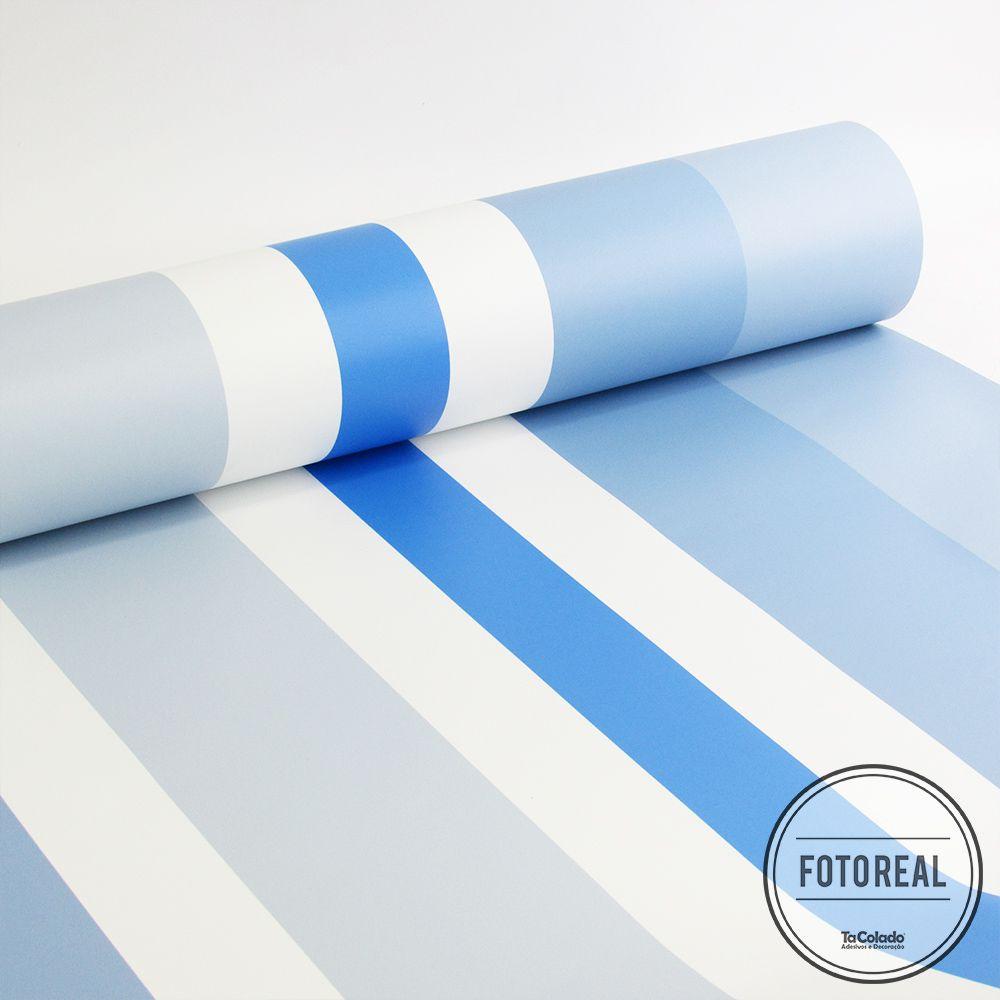 Promoção  - Papel de Parede Listras Médias Soft Azul  - TaColado