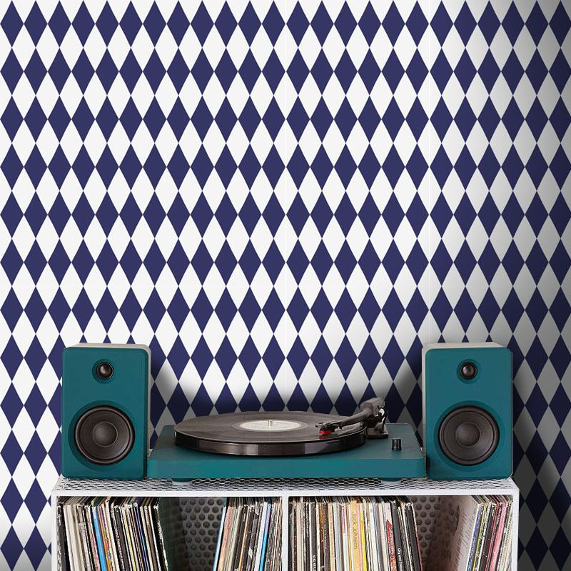 Outlet - Papel de Parede Losango Color Azul Marinho 0,50 x 2,00m   - TaColado