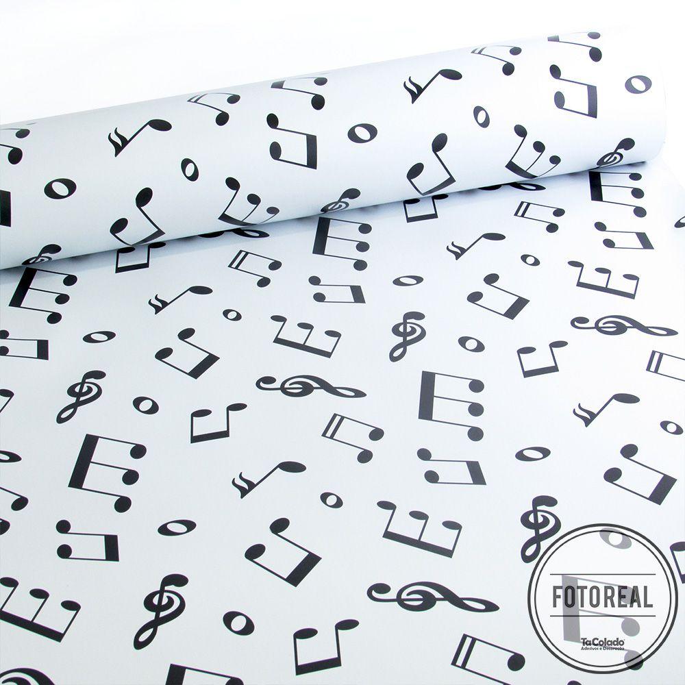 Papel de Parede Notas Musicais - Várias Cores  - TaColado
