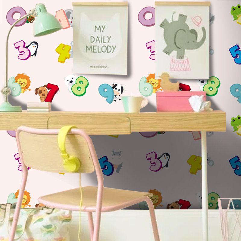 Queima de Estoque - Papel de Parede Infantil Números Rosa  - TaColado