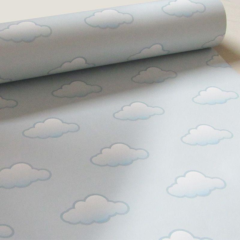 Queima de Estoque - Papel de Parede Infantil Nuvens Várias Cores  - TaColado