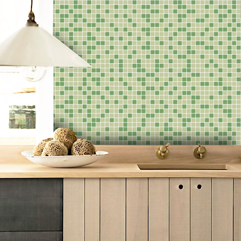 Outlet - Papel de Parede Pastilhas para Cozinha Clássica Mix Verde Claro 0,58 x 2,00m  - TaColado
