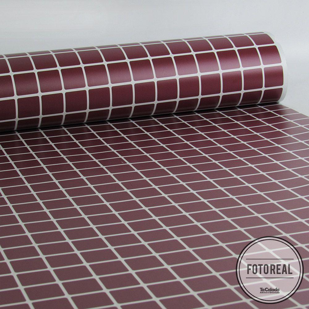 Outlet - Papel de Parede Pastilhas Vinho 0,58 x 2,00m  - TaColado