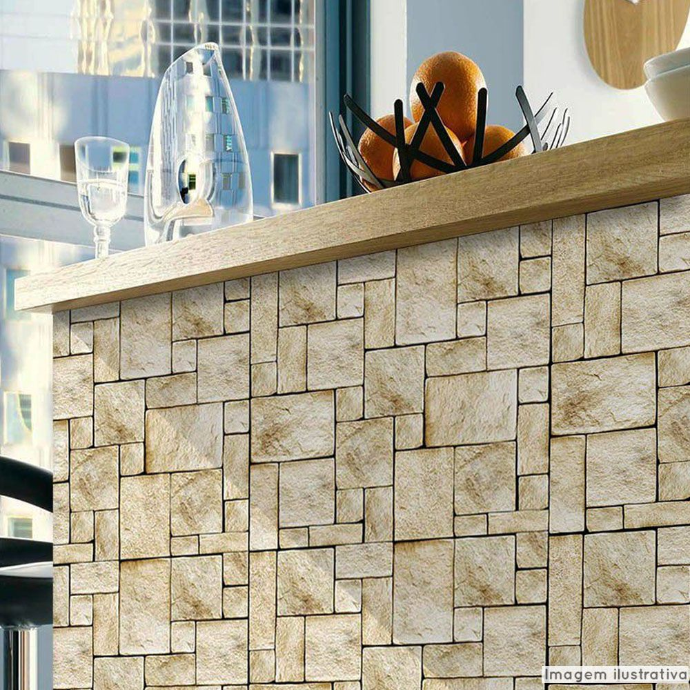 Papel de Parede Pedra Mosaico  - TaColado