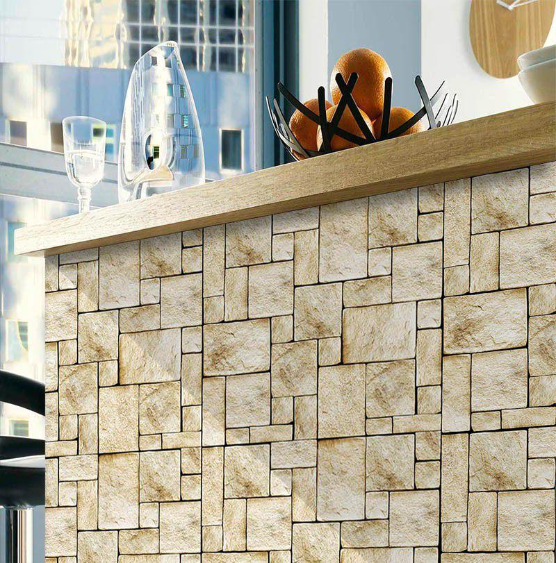 Promoção - Papel de Parede Pedra Mosaico - Kit 02 rolos  - TaColado