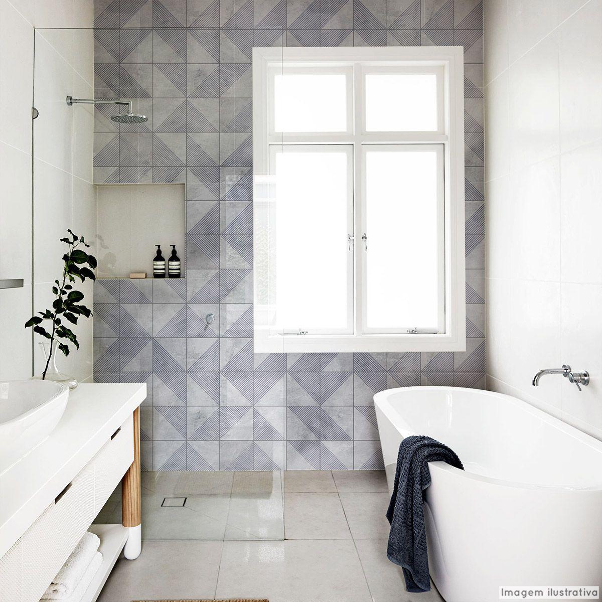 Papel de Parede Lavável para Banheiro Revestimento Cimento Retângulo  - TaColado