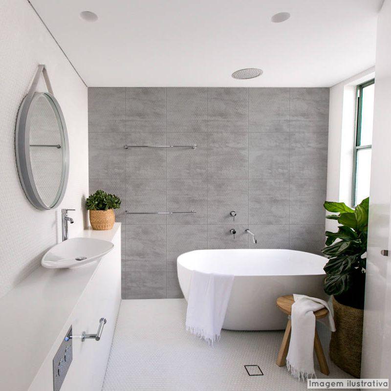 Papel de Parede Lavável para Banheiro Revestimento Concreto  - TaColado