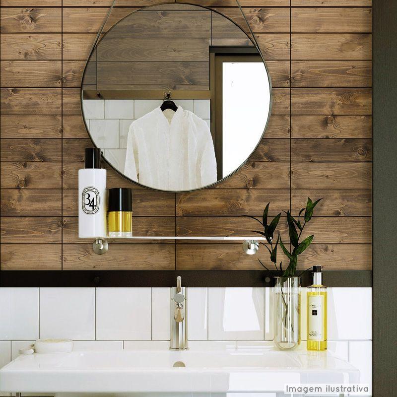 Papel de Parede Lavável para Banheiro Revestimento Madeira Demolição  - TaColado
