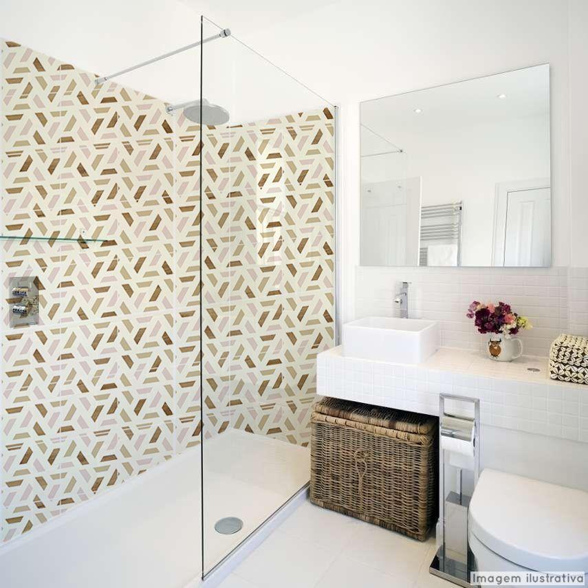 Papel de Parede Lavável para Banheiro Revestimento Madeira Geométrico  - TaColado