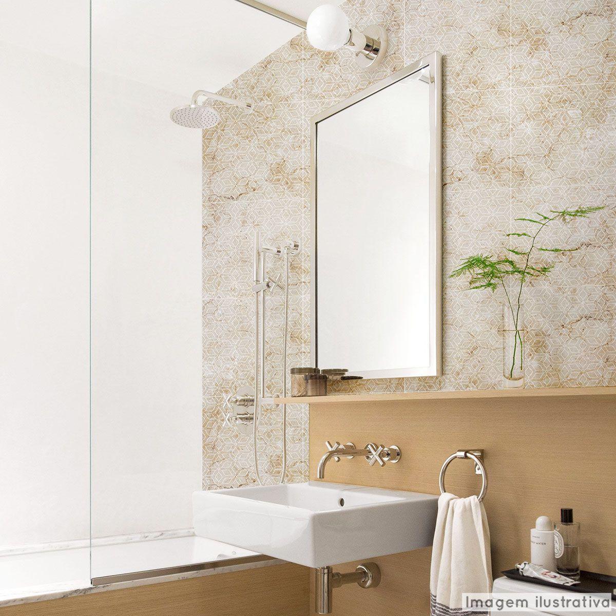 Papel de Parede Lavavel para Banheiro Cozinha Revestimento Fosco Mármore Cobogó  - TaColado