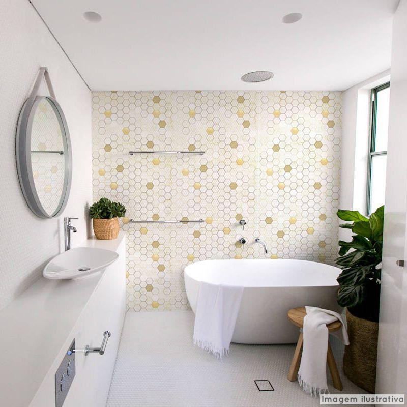 Papel de Parede Lavável para Banheiro Revestimento Mármore Colmeia  - TaColado