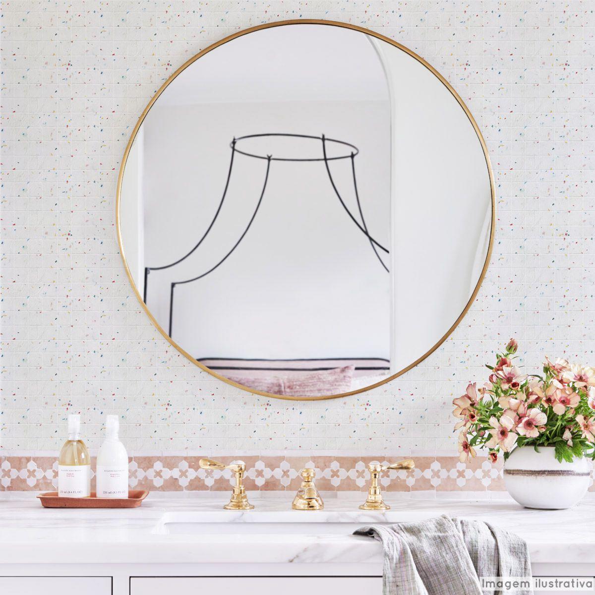 Papel de Parede Lavável para Banheiro Revestimento Pastilha Color  - TaColado