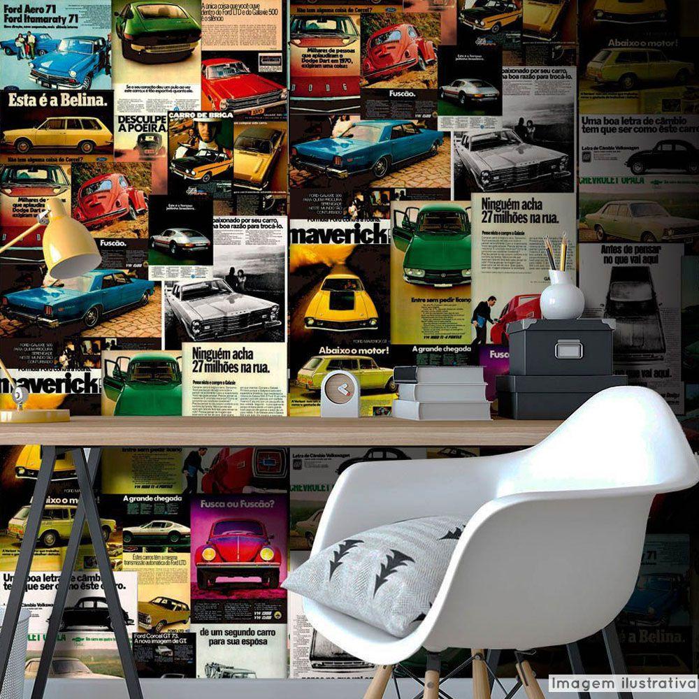 Papel de Parede Vintage Carros Inesquecíveis do Brasil  - TaColado