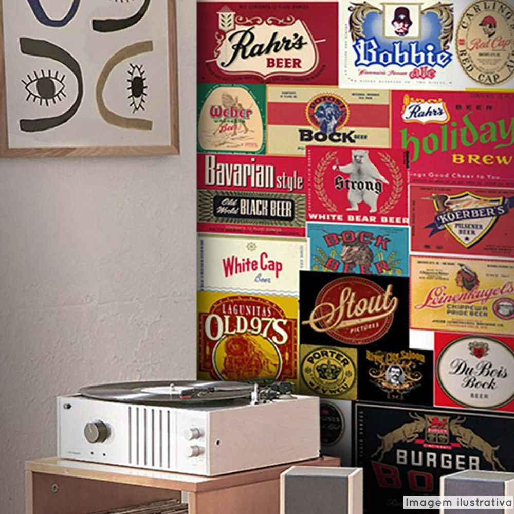 Papel de Parede Vintage Cervejas  - TaColado