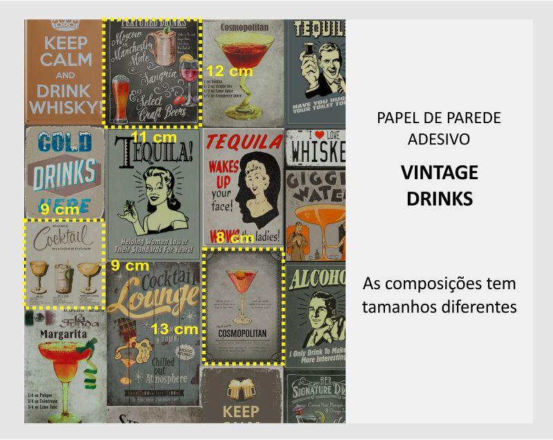 Queima de Estoque - Papel de Parede Vintage Drinks  - TaColado