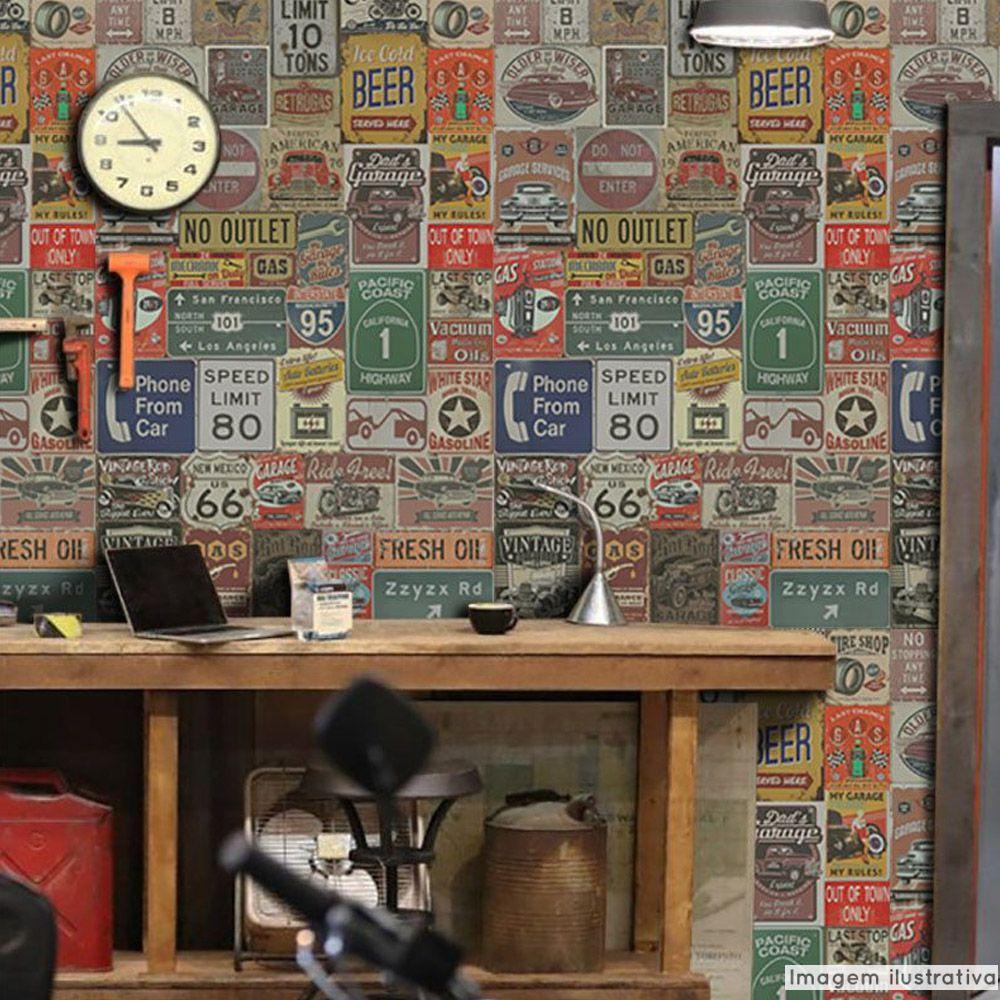 Papel de Parede Vintage Garagem  - TaColado