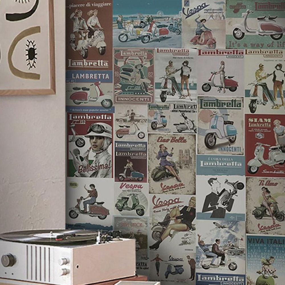 Papel de Parede Vintage Lambretta  - TaColado