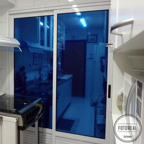 Película Solar Espelhado Azul Royal 0,50m  - TaColado