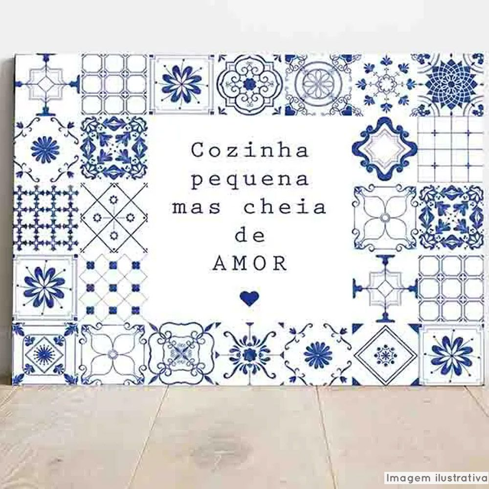 Placa Decorativa Cozinha Pequena Cheia de Amor  - TaColado