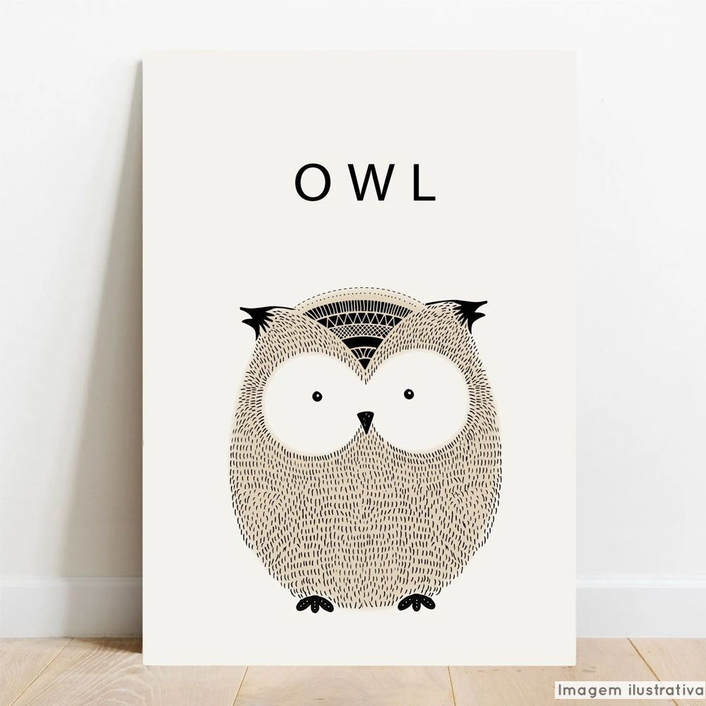 Placa Decorativa Escandinavo Owl  - TaColado