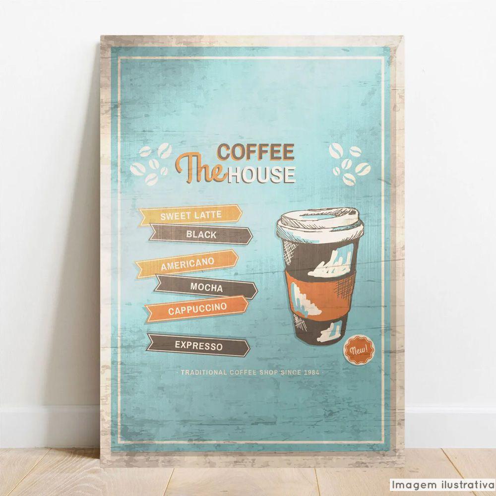 Placa Decorativa Metálica House Coffee  - TaColado