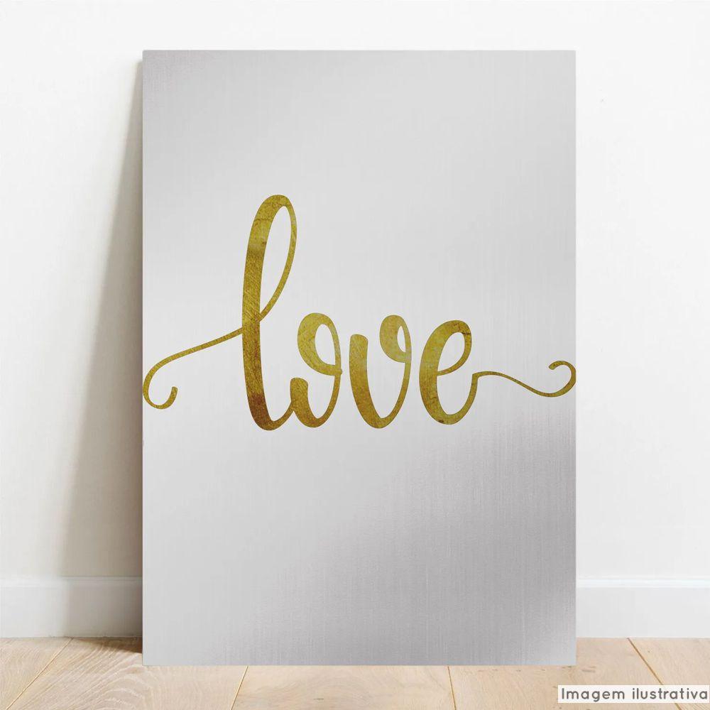 Placa Decorativa Metálica Love Dourado  - TaColado