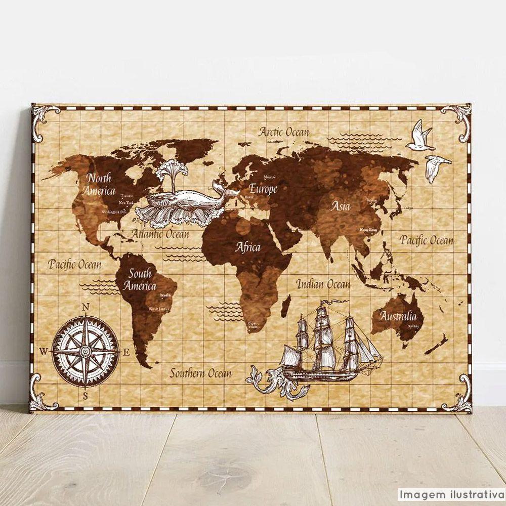 Placa Decorativa Metálica Mapa Antigo  - TaColado