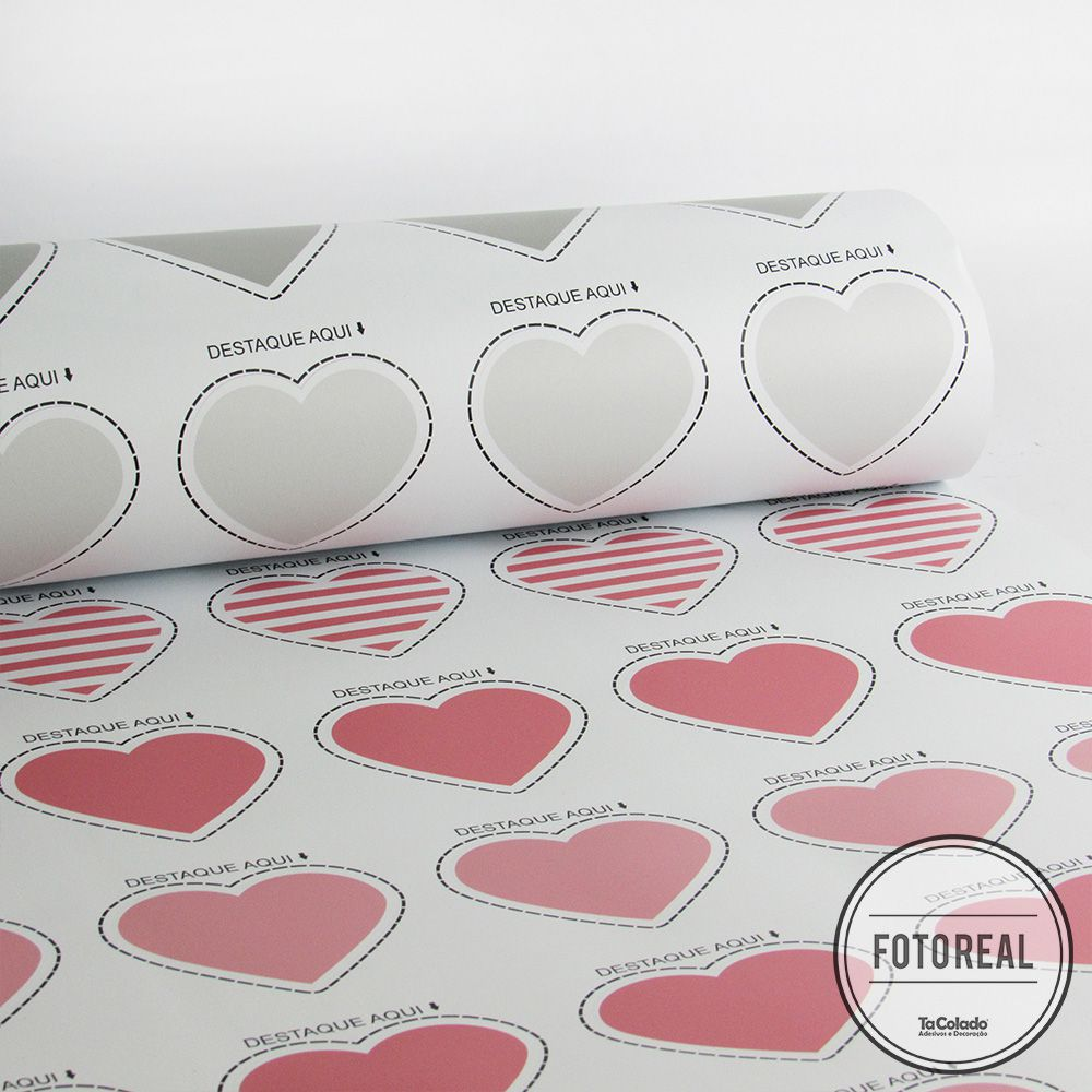 Queima de Estoque - Adesivo Destacável Corações Rosa e Cinza  - TaColado