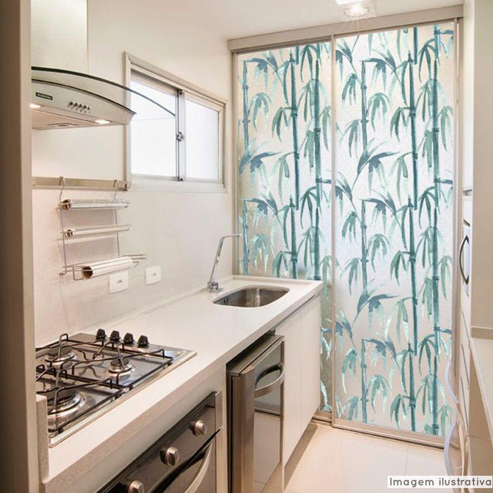 Promoção   - Adesivo Para Vidro Box Banheiro Jateado Decorado Bamboo Prova D