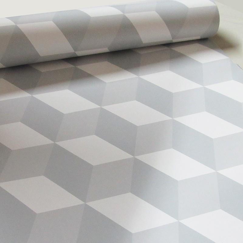 Promoção   - Papel de Parede 3D Cubo Clear Branco - Kit com 02 rolos   - TaColado