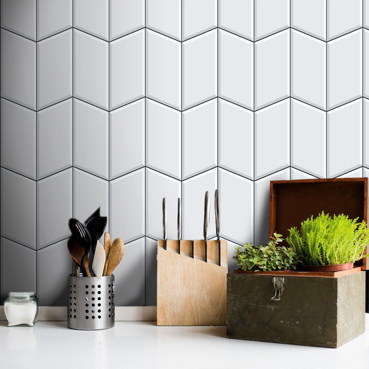 Promoção  - Papel de Parede Azulejo para Cozinha Tile Branco- Kit com 04 rolos  - TaColado