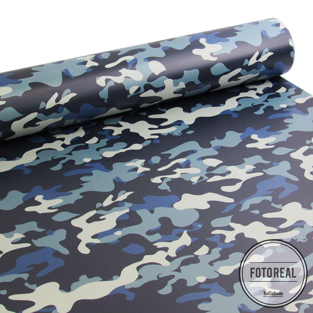 Promoção  - Papel de Parede Camuflado Militar Azul  - TaColado