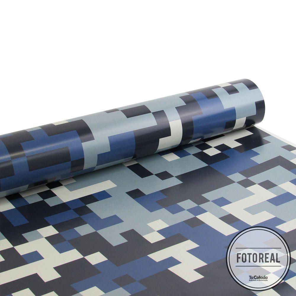Promoção - Papel de Parede Camuflado Pixel Azul  - TaColado