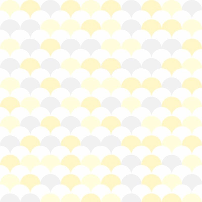 Promoção - Papel de Parede Flake Clear Amarelo e Cinza - Kit com 02 rolos  - TaColado