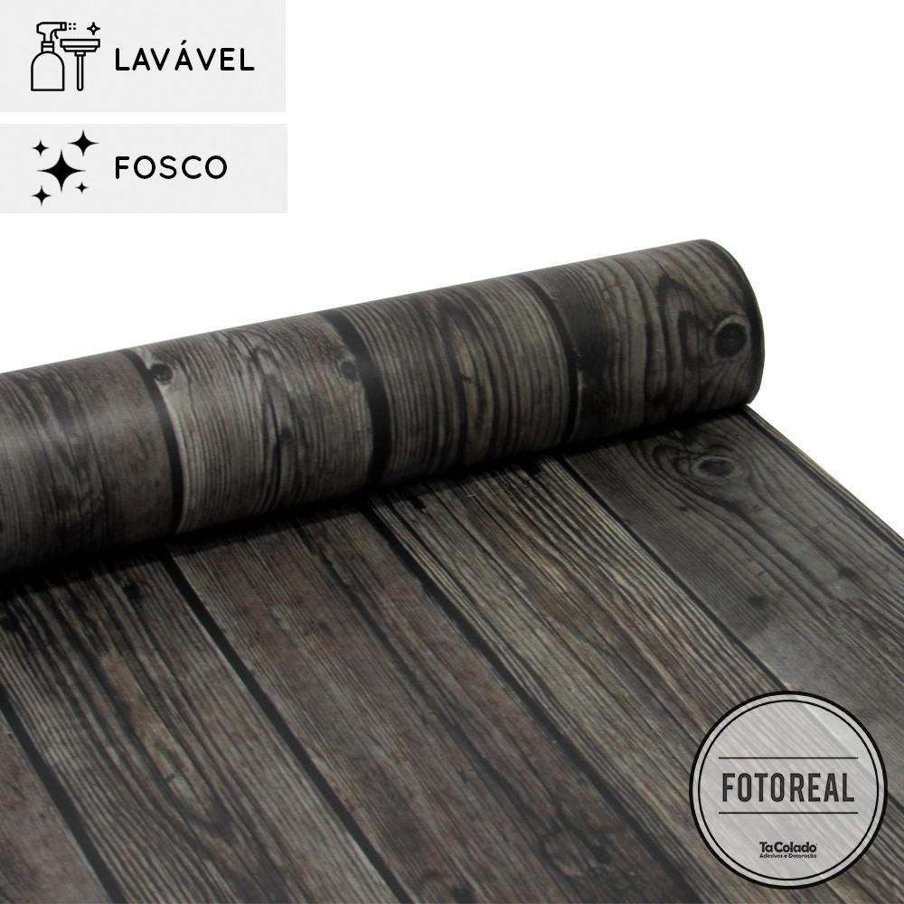 Promoção - Papel de Parede Lavavel para Banheiro Cozinha Revestimento Fosco Madeira Guajuvira  - TaColado