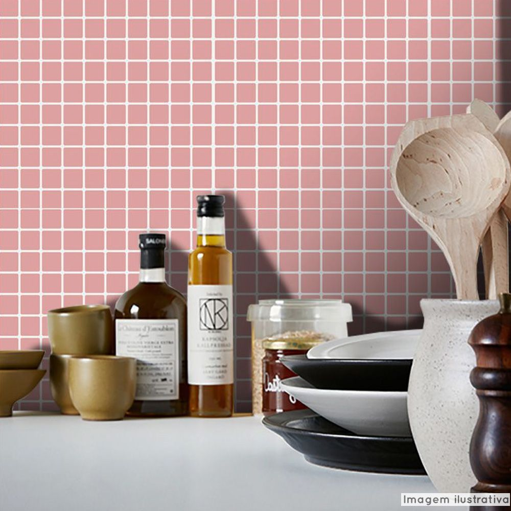 Promoção  - Papel de Parede Pastilha para Cozinha Clássica Rosa  - TaColado